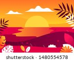 the view of the sunset at the... | Shutterstock .eps vector #1480554578