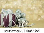 wrapped present with festive... | Shutterstock . vector #148057556