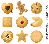 9 highly detailed cookies icons | Shutterstock .eps vector #148058222