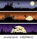 set of halloween night banners | Shutterstock .eps vector #148058612