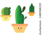 cactus doodle illustration ... | Shutterstock .eps vector #1480588235