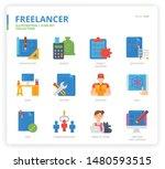 freelance icon set for web...   Shutterstock .eps vector #1480593515