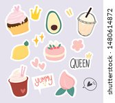 set of cute dessert  fun fruit... | Shutterstock .eps vector #1480614872