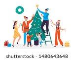 happy people decorating... | Shutterstock .eps vector #1480643648