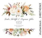 moody boho chic wedding vector... | Shutterstock .eps vector #1480740365