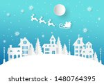 winter landscape with houses... | Shutterstock .eps vector #1480764395