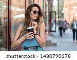 coffee break beautiful girl in... | Shutterstock . vector #1480790378