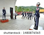 Small photo of TAIPEI, TAIWAN - August 14, 2019 : The National Revolutionary Martyrs' Shrine is a Taiwanese memorial, where military personnel are changed every hour. There is a beautiful and uncooperative line up.