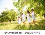 happy young family spending... | Shutterstock . vector #148087748
