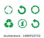 green recycle sign set on white ... | Shutterstock .eps vector #1480910732