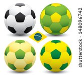 brazil soccer ball set | Shutterstock .eps vector #148096742