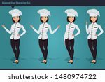 set of a young woman chef... | Shutterstock .eps vector #1480974722