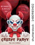 scary angry evil clown with... | Shutterstock .eps vector #1480985402