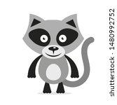 black white raccoon head logo... | Shutterstock .eps vector #1480992752