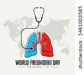 world pneumonia day  red ble...   Shutterstock .eps vector #1481003585