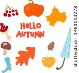 hello autumn elements set.... | Shutterstock .eps vector #1481013278