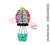 sequin hot air balloon with...   Shutterstock .eps vector #1481106032