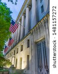 Us Flags Facade Door Robert F...