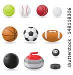 set icons sport balls... | Shutterstock . vector #148118306