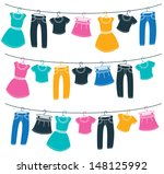 Stock vector clothes on washing line 148125992