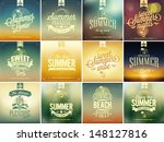 Set Of Beautiful Seaside View Poster. Vector background. With Typography
