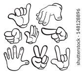 cartoon hand gestures | Shutterstock .eps vector #148128896