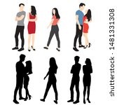 silhouettes of men and women... | Shutterstock .eps vector #1481331308