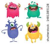 cute cartoon monsters. set of... | Shutterstock .eps vector #1481385128