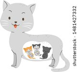Stock vector illustration of a pregnant cat with three kittens inside her womb 1481427332