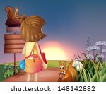 illustration of a little girl...