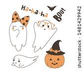 cute ghosts flat vector... | Shutterstock .eps vector #1481429942