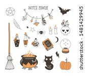 witch power flat vector... | Shutterstock .eps vector #1481429945