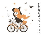 Witch Riding Bicycle Flat...