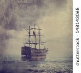 Old Pirate Ship In The Sea....