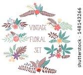 vector set with vintage flowers | Shutterstock .eps vector #148143266