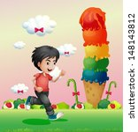 Illustration of a boy running in the candyland