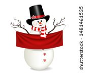 snowman holding red banner with ... | Shutterstock .eps vector #1481461535