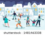 happy young people skating.... | Shutterstock .eps vector #1481463338