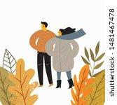 Stock vector autumn people vector illustration in cartoon style 1481467478