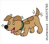 cartoon puppy with a collar on... | Shutterstock .eps vector #1481475785