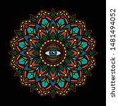 simple vintage mandala eye... | Shutterstock .eps vector #1481494052