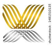 gold wavy stripes in white... | Shutterstock .eps vector #1481510135