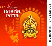 Stock vector illustration of goddess durga face in happy durga puja subh navratri indian religious header banner 1481526995
