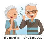 couple elderly laughing... | Shutterstock .eps vector #1481557022