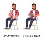 man uses a smartphone and a... | Shutterstock .eps vector #1481611025