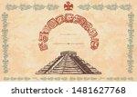 mayan pyramids and glyphs.... | Shutterstock .eps vector #1481627768