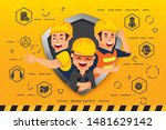 construction workers and... | Shutterstock .eps vector #1481629142