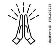 applauding hands icon. outline... | Shutterstock .eps vector #1481635238