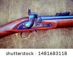 Retro American shock rifle made before the civil war, close-up. U. S. Percussion rifle Tower in 1854.