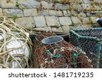 Rusty Lobster Pot And Rope On...